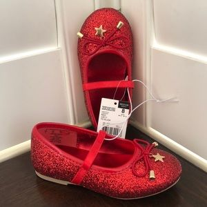 Little girls Red glittery flat shoes size 8